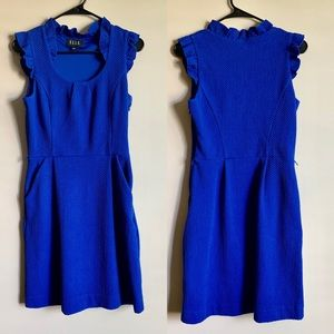 ELLE Royal Blue Ruffle Dress With Pockets Size 4